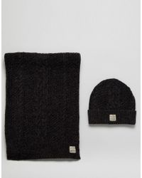 Jack & Jones - Gray Hat & Scarf Set for Men - Lyst