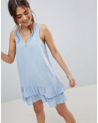 ASOS - Blue V Front V Back Pep Hem Mini Sundress In Grid Texture - Lyst