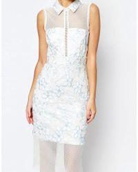 ASOS - White Salon Mesh Collar Midi Dress - Lyst
