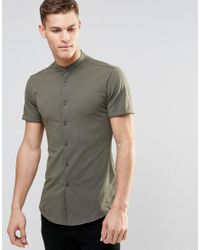 ASOS - Green Skinny Shirt In Khaki Jersey With Grandad Collar And Short Sleeves for Men - Lyst