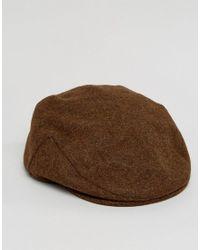 ASOS - Flat Cap In Brown Nepp Melton for Men - Lyst