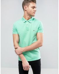 Tommy Hilfiger | Logo Pique Polo Slim Fit In Green for Men | Lyst