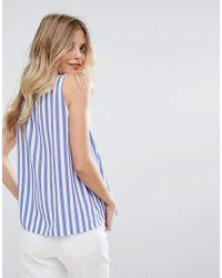 Mango - Blue Stripe Pephem Top - Lyst