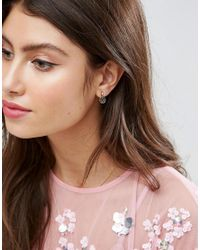 ASOS - Metallic Gold Plated Sterling Silver Fine Flower Disc Earrings - Lyst