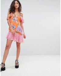 Jaded London - Multicolor Mix Print Layered Mini Dress - Lyst