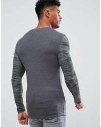ASOS - Gray Muscle Long Sleeve T-shirt With Curved Hem And Inject Pocket And Sleeve for Men - Lyst
