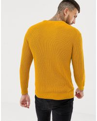 Bershka - Yellow Knitted Sweater In Mustard for Men - Lyst