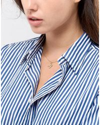 Pieces - Metallic Bird Pendant Necklace - Lyst