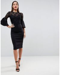 ASOS - Black Lace Top Fluted Sleeve Bodycon Midi Dress - Lyst