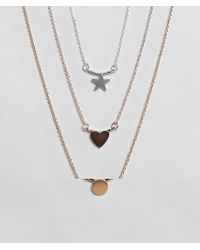 ASOS - Multicolor Pack Of 3 Ditsy Pendant Necklaces - Lyst