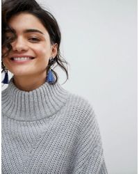 Ashiana - Blue Drop Tassel Statement Earrings - Lyst
