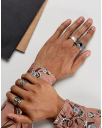 ASOS | Metallic Oversized Feather Ring Pack With Stone | Lyst