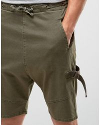 ASOS - Green Drop Crotch Shorts With D Rings In Khaki for Men - Lyst