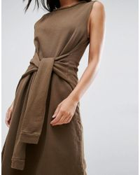 NYTT - Brown Sleeveless Dress With Faux Sleeve Tie - Lyst