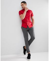 ASOS DESIGN - Slim Shirt In Red With Short Sleeves for Men - Lyst