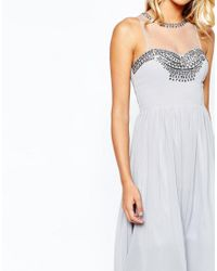 Little Mistress Gray Prom Dress In Chiffon With Embellished Bust
