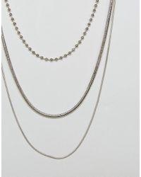 ASOS - Metallic Mixed Chain Multirow Necklace - Lyst