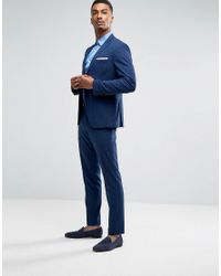 SELECTED Blue Slim Suit Trousers With Stretch for men