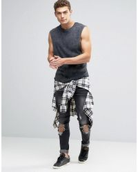 ASOS - Rib Longline Sleeveless T-shirt With Acid Wash In Black for Men - Lyst