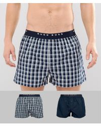 BOSS - Blue By Hugo Woven Boxers 2 Pack for Men - Lyst