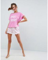 ASOS - Pink Bridal Bride's Besties Tee & Short Pyjama Set - Lyst