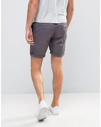 ASOS - Gray Slim Chino Shorts In Soft Purple for Men - Lyst