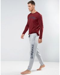 0e6d3af8 Tommy Hilfiger Cuffed Joggers Leg Logo In Grey Heather in Gray for ...