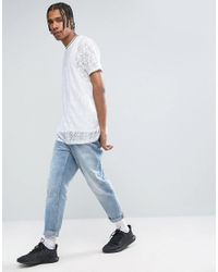 ASOS - Longline T-shirt In White Lace for Men - Lyst