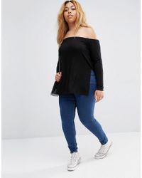 ASOS - Black Off Shoulder Slouchy Top With Side Splits - Lyst