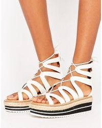 Sixtyseven | White Tieup Flatform Sandal | Lyst