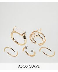 ASOS - Metallic Pack Of 5 Faux Opal Rings - Lyst