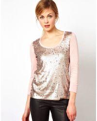 Mango | Pink Sequins T-shirt | Lyst