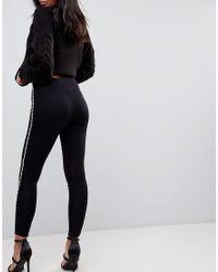 ASOS DESIGN - Black Asos Legging With Pearl Side Stripe - Lyst