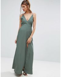 ASOS - Green Plunge Strap Back Maxi Dress - Lyst