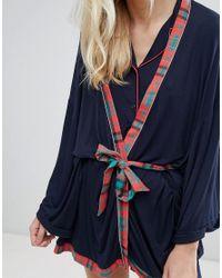 Chelsea Peers - Blue Christmas Check Long Robe - Lyst
