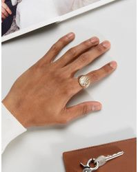 ASOS | Metallic Signet Ring With Hammered Effect for Men | Lyst