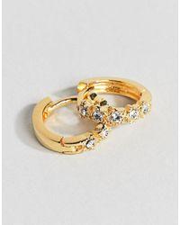 ASOS - Metallic Gold Plated Sterling Silver Fine Crystal Star Hinged Hoop Earrings - Lyst