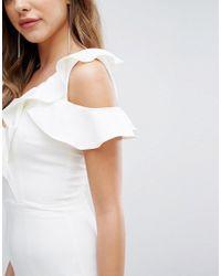 Lavish Alice   White Asymmetric Frill Jumpsuit   Lyst