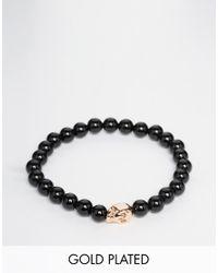 Simon Carter | Black Onyx Beaded Bracelet With Rose Gold Skull for Men | Lyst
