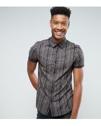 ASOS - Black Tall Regular Fit Vintage Print Shirt for Men - Lyst