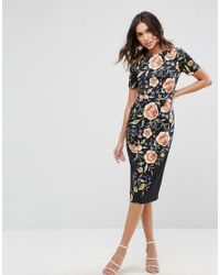 ASOS | Black Wiggle Dress In Floral Embroidery Print | Lyst