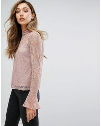 Club L - Pink High Neck Lace Detail Top With Cami Underlay - Lyst