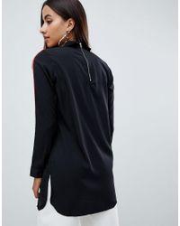 AX Paris - Black Shirt With Striped Sleeve Detail - Lyst