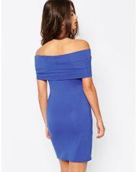 ASOS - Blue Bardot Off Shoulder Mini Bodycon Dress - Lyst