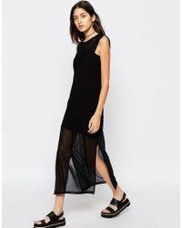 ASOS | Black Maxi Dress In Sheer Mesh | Lyst