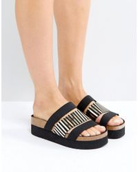 Sixtyseven - Black Triple Strap Slider Sandals - Lyst