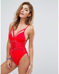 83c58b4161 Lyst - River Island Plunge Lace Swimsuit in Red