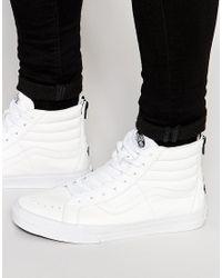 Vans - Sk8-hi Reissue Zip Sneakers In White V4kyii9 - White for Men - Lyst