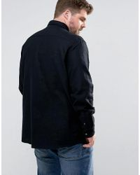 ASOS Black Asos Plus Linen Mix Overshirt With Poppers for men