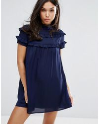 Fashion Union - Blue High Neck Dress With Double Frill - Lyst